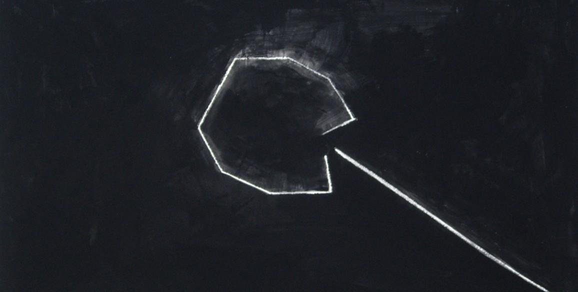 Jene Highstein, Death of an Octagon, 2007, bone black pigment on rag paper, Object: 24 3/4 x 37 3/4 in.