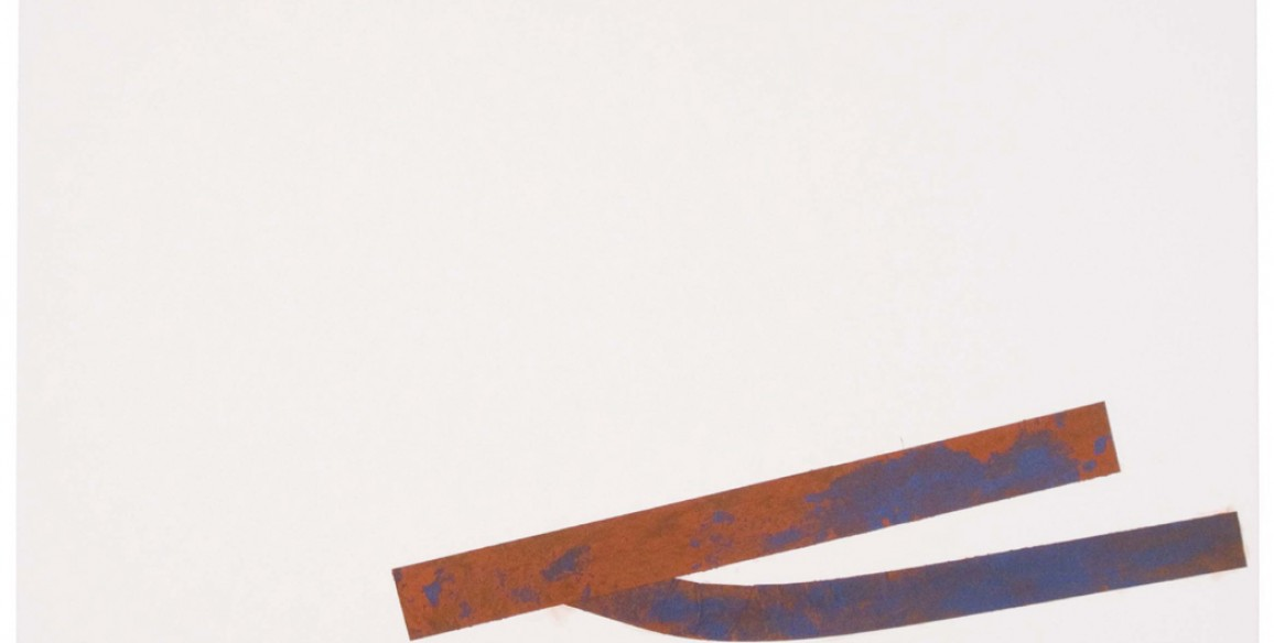 Christine Hiebert, Untitled (rd.08.10), 2008, blue tape, red earth on paper, Object: 30 x 44 in.