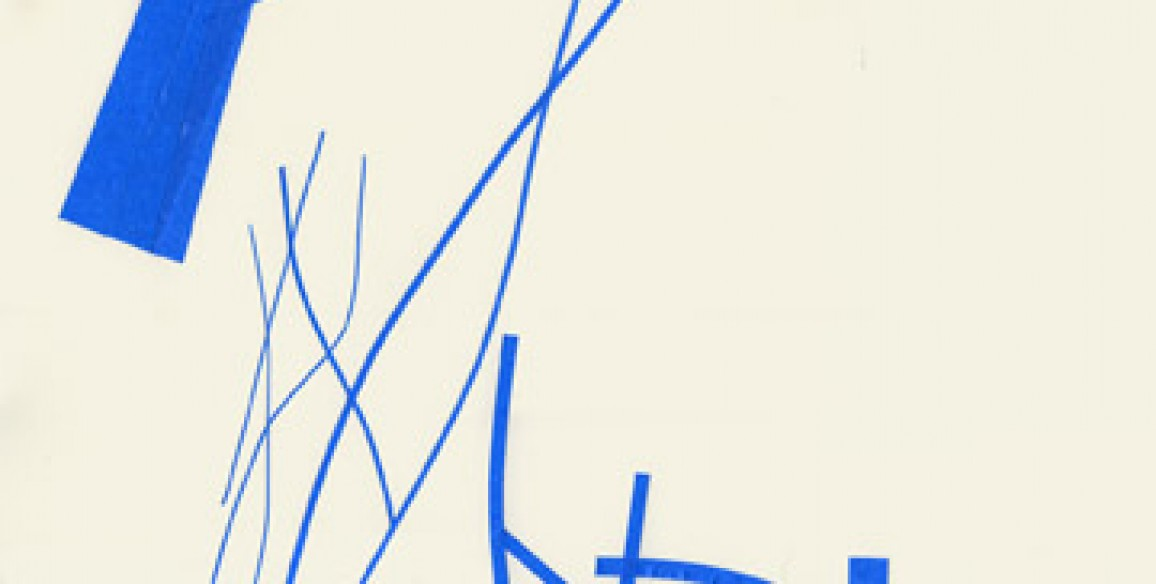 Christine Hiebert, Untitled (t.08.2p), 2008, blue adhesive tape and glue on paper, Object: 23 15/16 x 16 in.