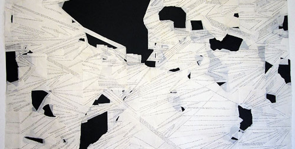 Annabel Daou, I Don't Know Where I'm Coming From, 2011, Ink and repair tape on handmade paper, Framed: 38 x 50 in.
