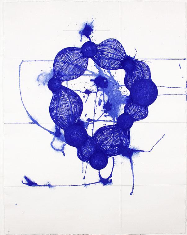Yvonne Estrada, MD403-11 Blue, 2011, Gouache on Spanish handmade paper, Paper: 25 x 20 in.