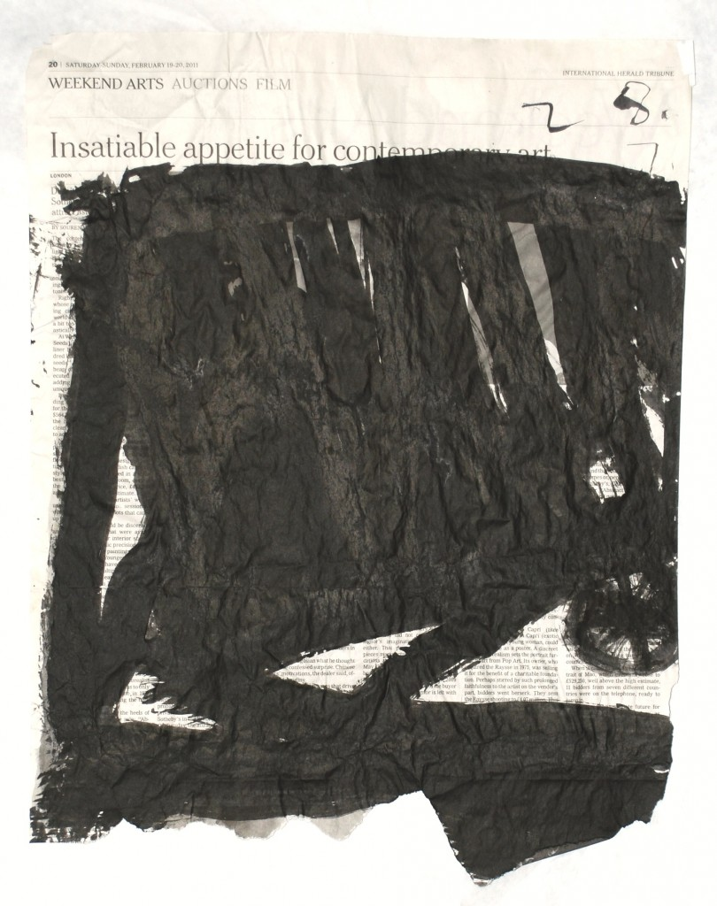 Sarah Rapson, Automatic, 2012, Ink on newsprint, Paper: 17 1/2 x 13 1/2 in.
