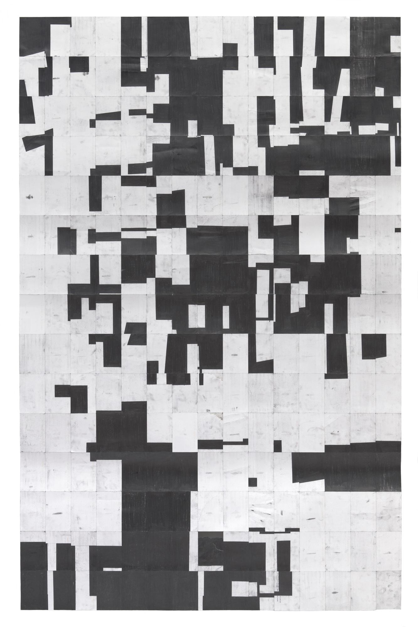 Agnes Lux, #L-W, 2012, Graphite on postcards, Overall: 82 5/8 x 52 1/8 in.