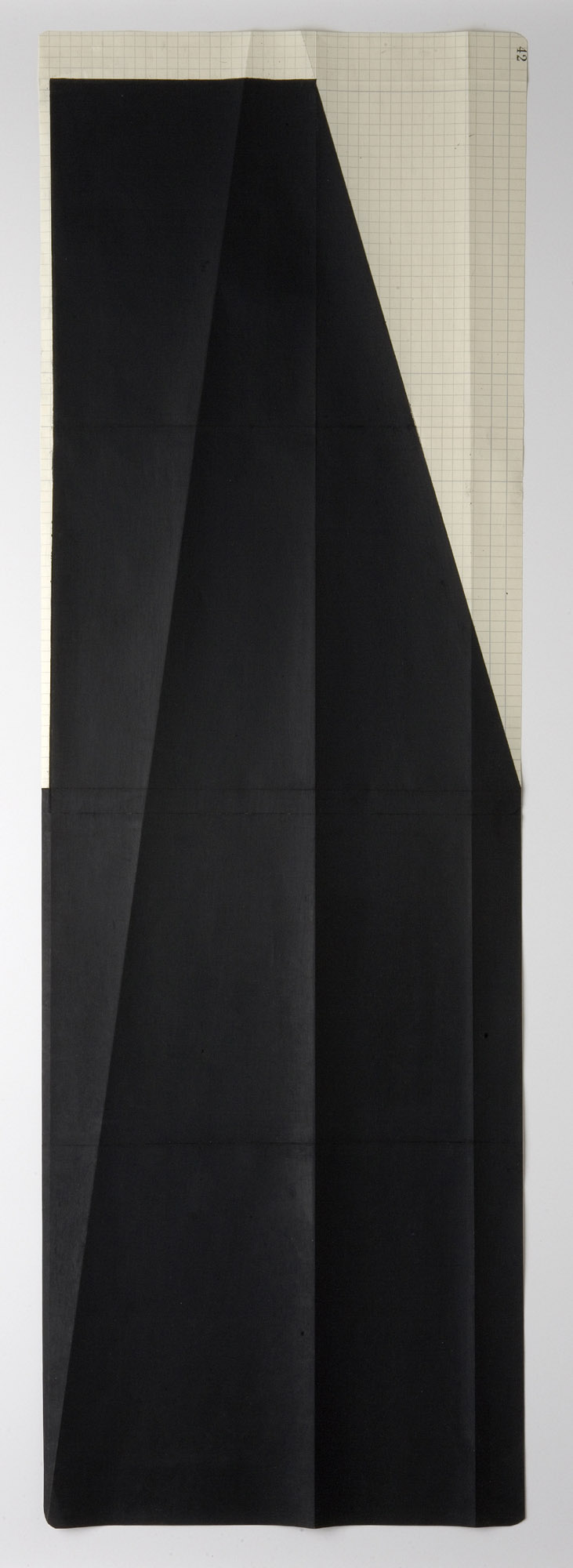 Manfred Muller, UMS Expanded #3550, , oil pastel on folded grid paper, Object: 34 x 12 in.