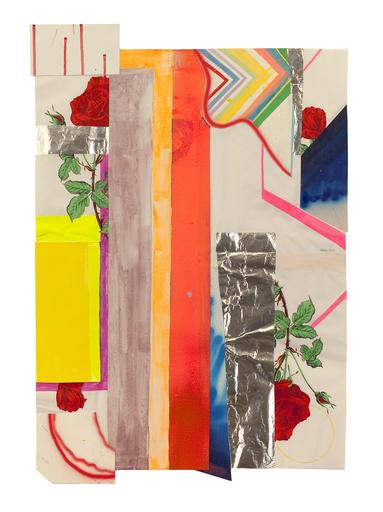Cain, Sarah, Last Rose, 2008, Paper, tinfoil, canvas, acrylic, and gouache on paper, Paper: 27 1/2 x 15 1/2 in.